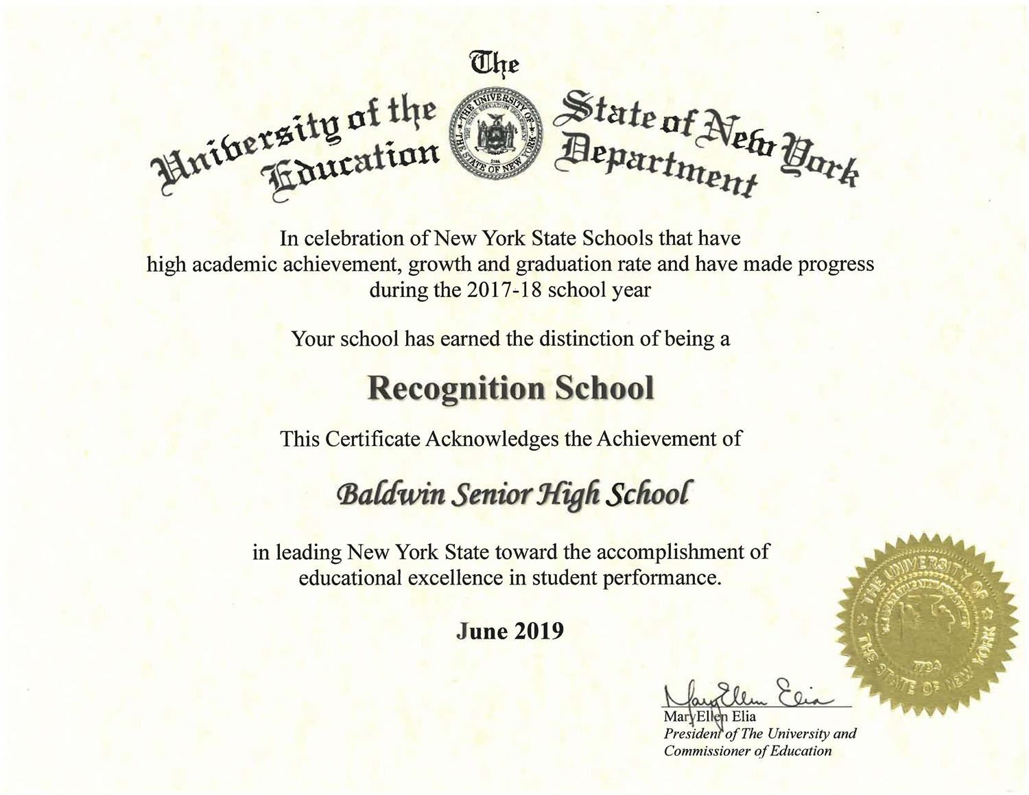 New York State Recognition School